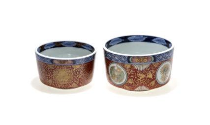 献上手型物古伊万里 牡丹紋獅子金襴 大小寿向付鉢